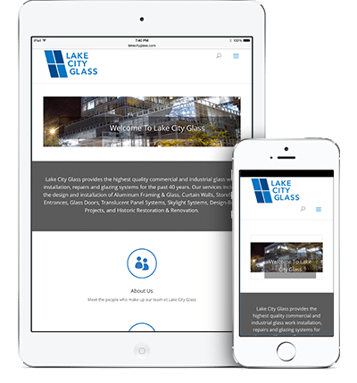 Lake City Glass responsive design by Megh Designs