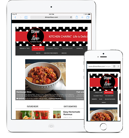 Dinner4Two responsive design by Megh Designs