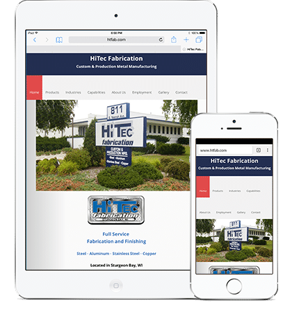 HiTec Fabrication responsive design by Megh Designs